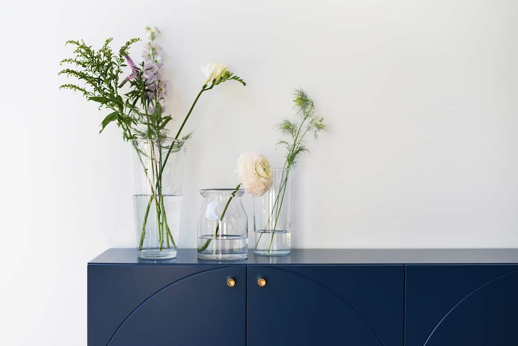 Blue cabinet with a top