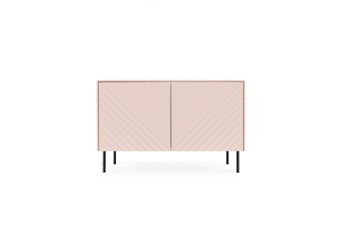 Nude cabinet with sprayed panels